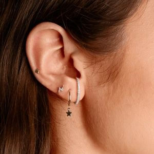 Pave Crystal Earlobe Cuff Stud Earring in Silver